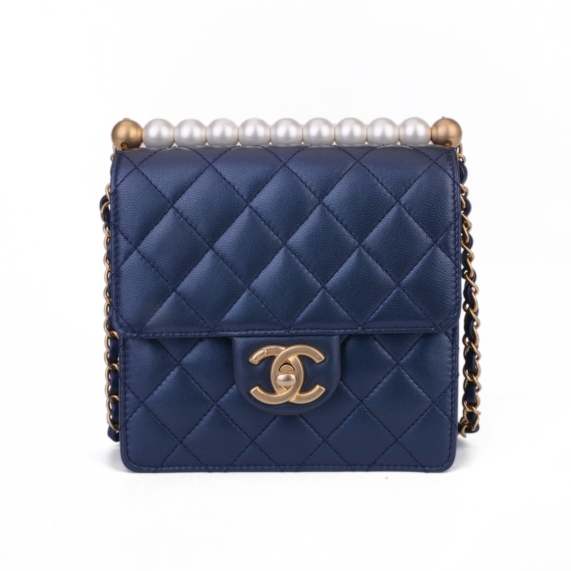 CHANEL香奈儿 菱格珍珠经典蓝色链条包